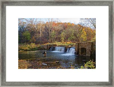 Fly Fishing At Valley Forge In Autumn Framed Print
