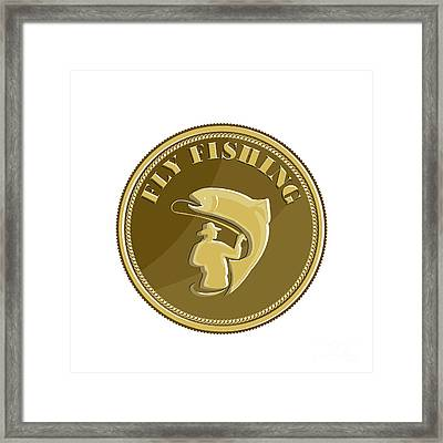 Fly Fishing Gold Coin Retro Framed Print