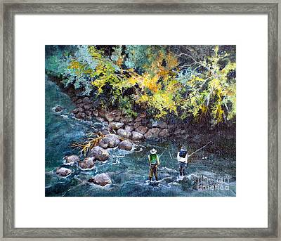 Framed Print featuring the painting Fly Fishing by Linda Shackelford