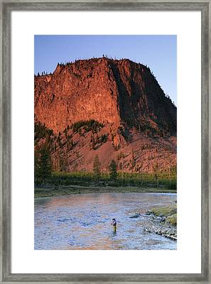 Fly Fishing On The Madison River Framed Print by Drew Rush