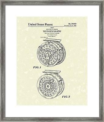 Fly Fishing Reel 1976 Patent Art Framed Print by Prior Art Design