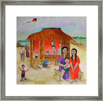 Flying A Kite With James  Framed Print by Miriam Besa