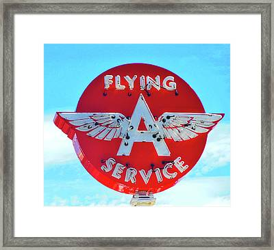 Framed Print featuring the photograph Flying A Service Sign by Joan Reese