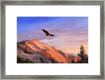 Flying American Bald Eagle Mountain Landscape Painting - American West - Western Decor - Bird Art Framed Print by Walt Curlee