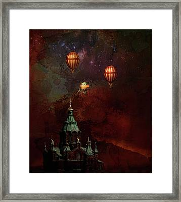 Framed Print featuring the digital art Flying Balloons Over Stockholm by Jeff Burgess