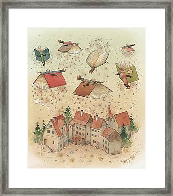 Flying Books Framed Print by Kestutis Kasparavicius