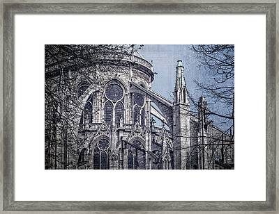 Flying Buttresses Notre Dame Paris Textured Framed Print