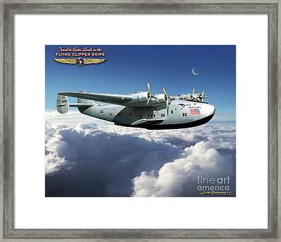 Flying Clipper Ship Framed Print by Larry Grossman