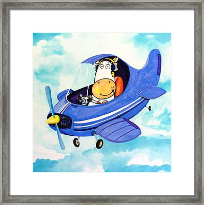 Flying Cow Framed Print