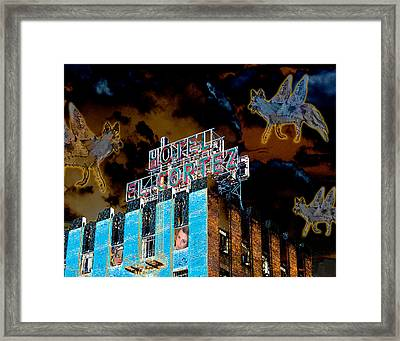 Flying Coyotes Circling The El Cortez Hotel Framed Print