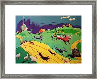 Flying Dog Farm Framed Print by Robert Tarr
