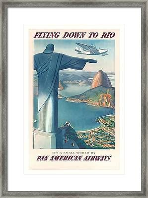 Flying Down To Rio Brazil Christ The Redeemer Statue Vintage Travel Poster Framed Print