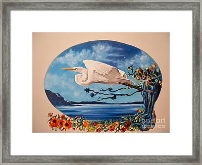Flying Egret Framed Print by Sigrid Tune