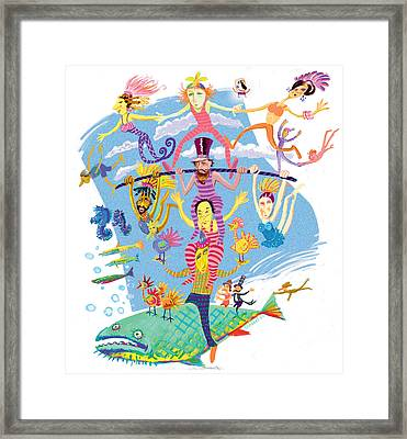 Flying Fish Circus Framed Print by Annabel Lee