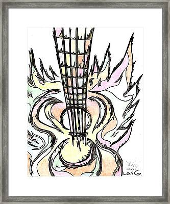 Flying Guitar  Framed Print by Levi Glassrock