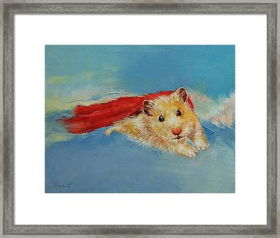 Hamster Superhero Framed Print by Michael Creese