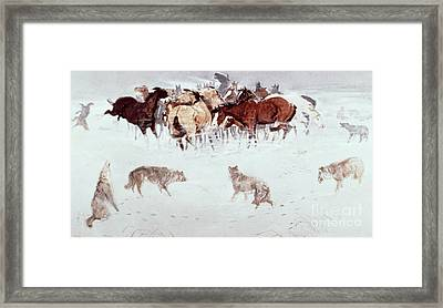 Flying Hooves Framed Print by Charles Marion Russell