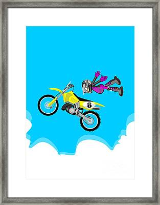 Flying In A Motocross Without Taking The Handlebars With Your Hands Framed Print