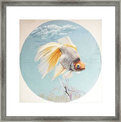 Flying In The Clouds Of Goldfish Framed Print by Chen Baoyi