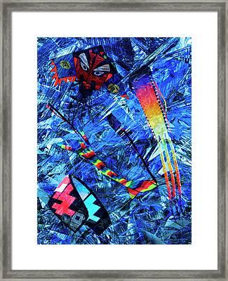 Flying Kites Abstract Framed Print