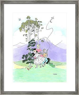 Flying Kites Framed Print by Frances  Dillon