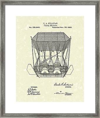 Flying Machine 1880 Patent Art Framed Print by Prior Art Design