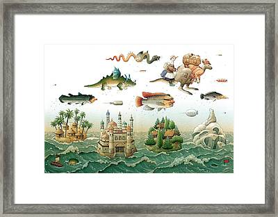 Flying Over The Sea Framed Print by Kestutis Kasparavicius