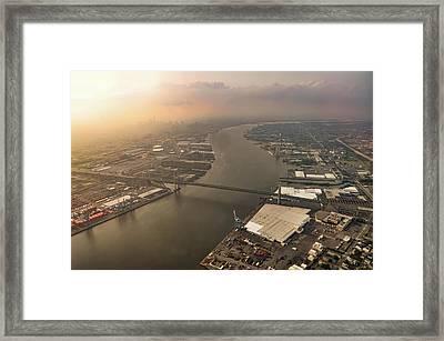 Flying Over The Walt Whitman Bridge Framed Print