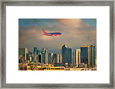 Flying Past Downtown Framed Print