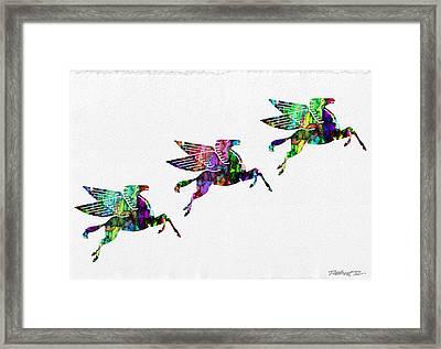 Flying Pegasus Rainbow Framed Print by Robert R Splashy Art Abstract Paintings