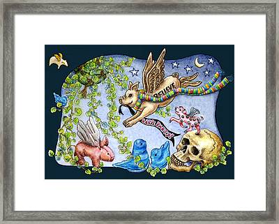 Flying Pig Party 2 Framed Print