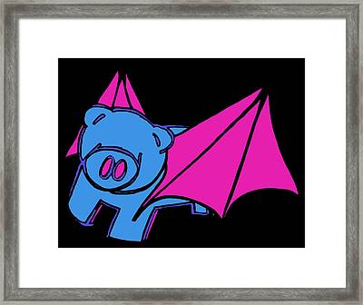 Flying Piggy On Black Framed Print by Jera Sky