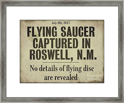 Flying Saucer Roswell Newspaper Framed Print by Mindy Sommers
