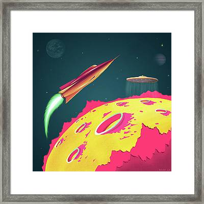 Flying Saucers Attack Framed Print by Little Bunny Sunshine