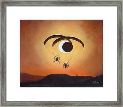 Flying The Solar Eclipse 2012 Framed Print by Judy Lybrand