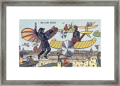 Flying Traffic Control, 1900s French Framed Print