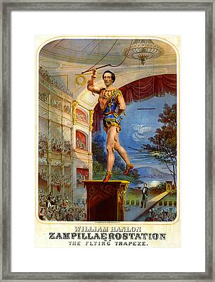 Framed Print featuring the photograph Flying Trapeze 1850 by Padre Art