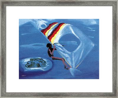Flying Windsurfer Framed Print
