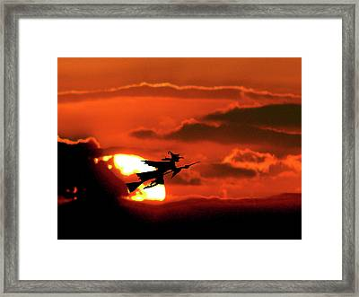 Flying Witch Halloween Card Framed Print by Adele Moscaritolo