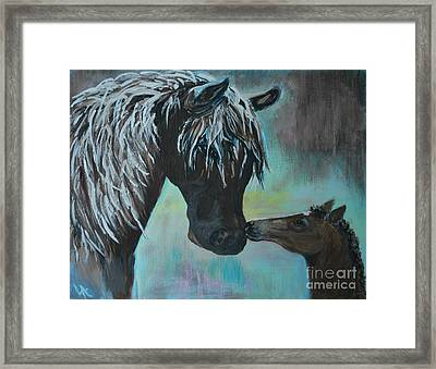 Framed Print featuring the painting Foal Kiss by Leslie Allen