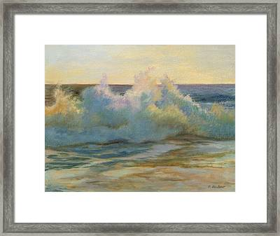 Foaming Waves At Beach Framed Print