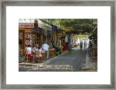 Foca Outdoor Eateries Framed Print by Bob Phillips