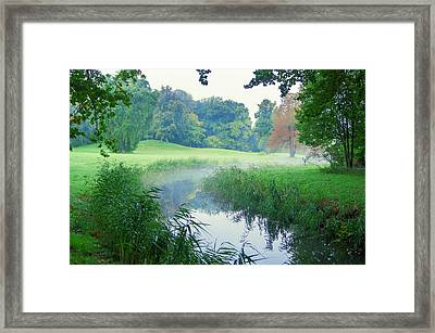 Fog Along A Creek In Autumn Framed Print