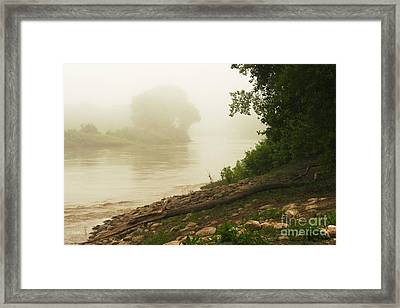 Fog Along The Red Framed Print