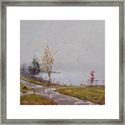 Fog And Rain At Gratwick Waterfront Park Framed Print by Ylli Haruni