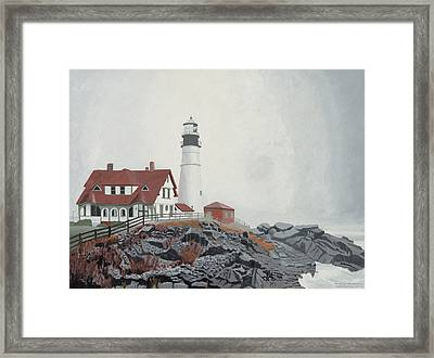 Fog Approaching Portland Head Light Framed Print by Dominic White