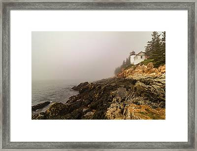 Framed Print featuring the photograph Fog At Bass Harbor Lighthouse by Jeff Folger