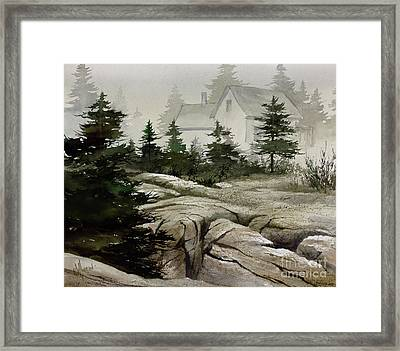 Framed Print featuring the painting Fog At The Coast by James Williamson