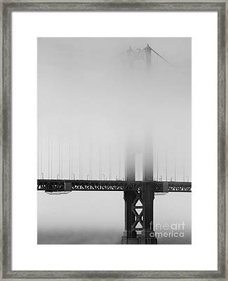 Fog At The Golden Gate Bridge 4 - Black And White Framed Print