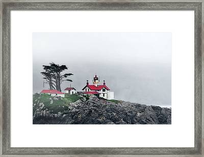 Fog Comes Rolling In - Battery Point Lighthouse - Crescent City Ca Framed Print